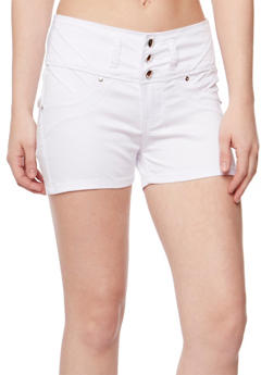 Solid 3 Button Twill Shorts - WHITE - 1070067546001