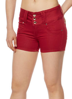 Solid 3 Button Twill Shorts - BURGUNDY - 1070067546001