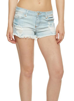 Highway Distressed Frayed Hem Shorts - 1070071310772