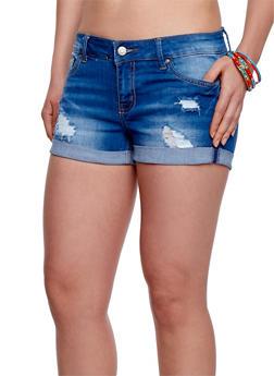 WAX Distressed Cuffed Denim Shorts - MEDIUM WASH - 1070071610059