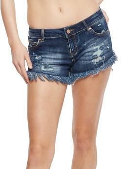 WAX Frayed Whisker Wash Denim Shorts - 1070071610064