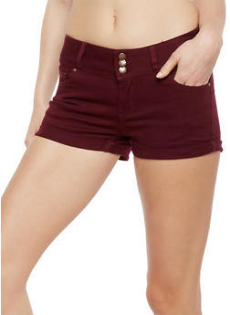 Wax 3 Button Push Up Jean Shorts - BURGUNDY - 1070071610070