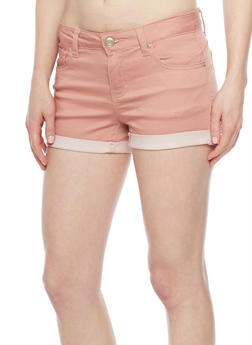 WAX Push Up Denim Shorts with Rolled Cuffs - MAUVE - 1070071619002