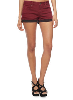WAX Push Up Denim Shorts with Rolled Cuffs - BURGUNDY - 1070071619002