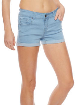 WAX Push Up Denim Shorts with Rolled Cuffs - LIGHT WASH - 1070071619002