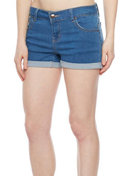WAX Push Up Denim Shorts with Rolled Cuffs - 1070071619002