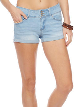 WAX Triple Button Cuffed Denim Shorts - LIGHT WASH - 1070071619003