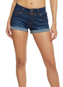 WAX Triple Button Cuffed Denim Shorts - DARK WASH - 1070071619003