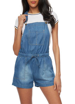 WAX Jean Racerback Chambray Shortalls with Drawstring Waist - 1070071619004