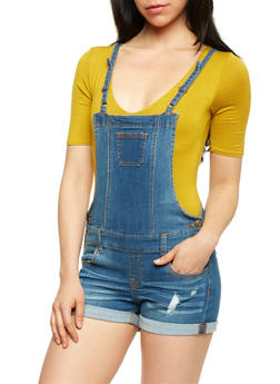 WAX Denim Cuffed Denim Shortalls - 1070071619006