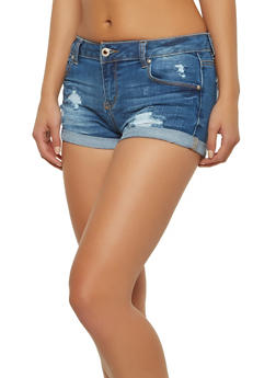 WAX Distressed Denim Shorts - 1070071619022