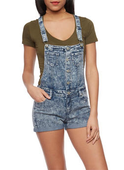 WAX Cuffed Acid Wash Denim Shortalls - LIGHT ACID - 1070071619076