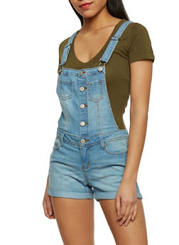 WAX Cuffed Acid Wash Denim Shortalls - MEDIUM WASH - 1070071619076