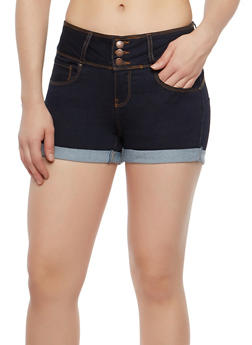 WAX 3 Button Push Up Denim Shorts - 1070071619099