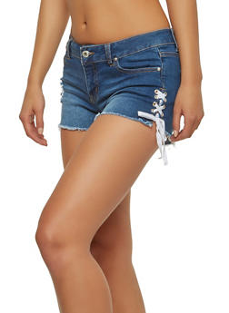 WAX Lace Up Denim Shorts - 1070071619109
