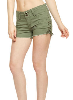 Double Button Shorts with Lace Up Sides - 1070072290079