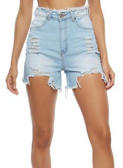 High Waisted Destroyed Denim Shorts - 1070072290115