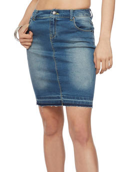 Highway Jean Denim Pencil Skirt with Back Slit - 1071071310764