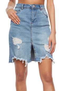 Highway Destroyed Denim Skirt - 1071071313518