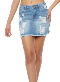 WAX Frayed Denim Mini Skirt - 1071071619014