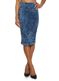 Acid Washed Zip Back Pencil Skirt - 1071072291201