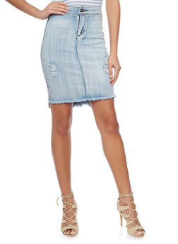 Frayed Denim Pencil Skirt - 1071072292211