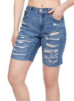 Almost Famous Destroyed Denim Bermuda Shorts - 1072015992835