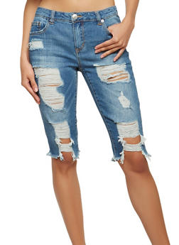 Almost Famous Destroyed Denim Bermuda Shorts - 1072015995132