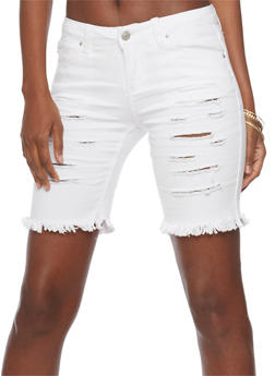 Almost Famous Slashed Denim Bermuda Shorts - WHITE - 1072015998398