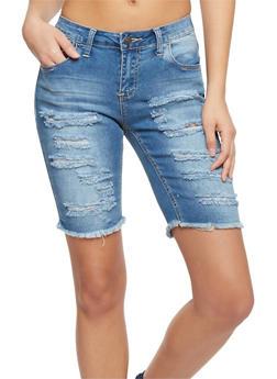 Almost Famous Slashed Denim Bermuda Shorts - 1072015998398