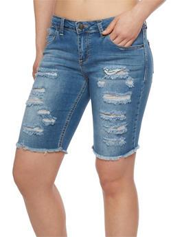 Almost Famous Slashed Denim Bermuda Shorts - DARK WASH - 1072015998398