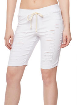 Slashed Bermuda Shorts with Drawstring Waist - WHITE - 1072056576086