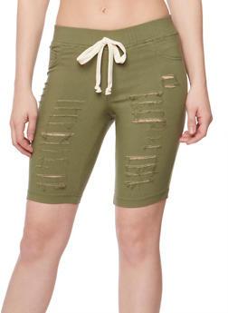 Slashed Bermuda Shorts with Drawstring Waist - OLIVE - 1072056576086