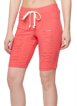 Slashed Bermuda Shorts with Drawstring Waist - 1072056576086