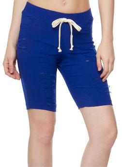 Slashed Bermuda Shorts with Drawstring Waist - 1072056576086