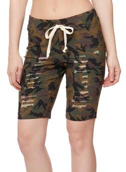 Slashed Bermuda Shorts with Drawstring Waist - CAMOUFLAGE - 1072056576086