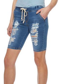 Distressed Denim Bermuda Shorts - 1072062701373