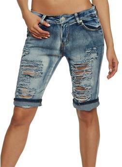 Destroyed Acid Wash Denim Bermuda Shorts - 1072063403609