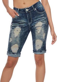 Acid Wash Distressed Denim Bermuda Shorts - 1072063403616
