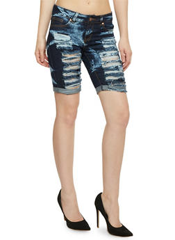 VIP Destroyed Acid Wash Denim Bermuda Shorts - 1072065306742