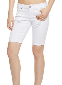 Destroyed Roll Cuff Denim Bermuda Shorts - 1072065306877