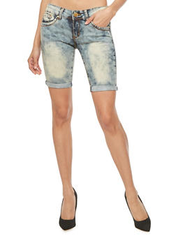 VIP Bermuda Jean Shorts with Cuffed Hems - 1072065307315