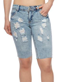 Highway Jeans Distressed Denim Bermuda Shorts - LIGHT WASH - 1072071315009