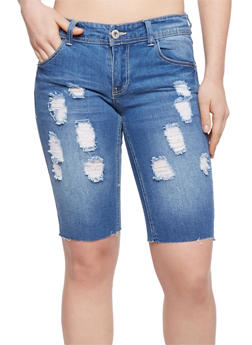Highway Jeans Distressed Denim Bermuda Shorts - MEDIUM WASH - 1072071315009