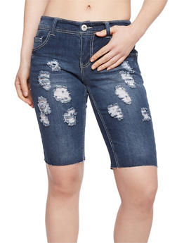 Highway Jeans Distressed Denim Bermuda Shorts - DARK WASH - 1072071315009