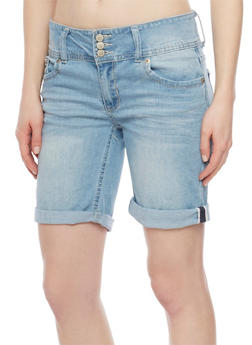 Highway Jeans 3 Button Denim Bermuda Shorts - LIGHT WASH - 1072071315905