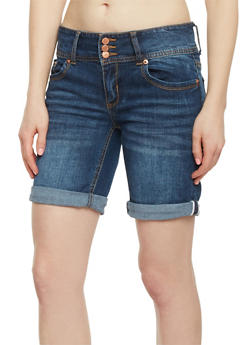 Highway Jeans 3 Button Denim Bermuda Shorts - DARK WASH - 1072071315905