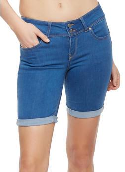 Wax Cuffed Denim Bermuda Shorts - 1072071610062