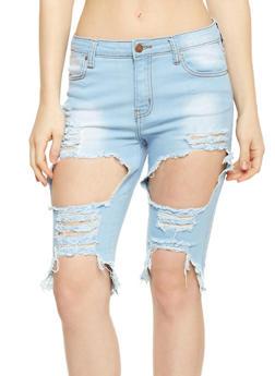 Destroyed Denim Bermuda Shorts - ICE - 1072072290270