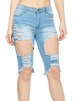 Destroyed Denim Bermuda Shorts - MEDIUM WASH - 1072072290270